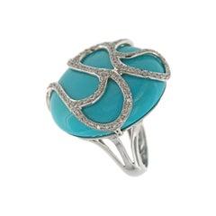Turquoise Diamond Ring 14k White Gold 14k White Gold