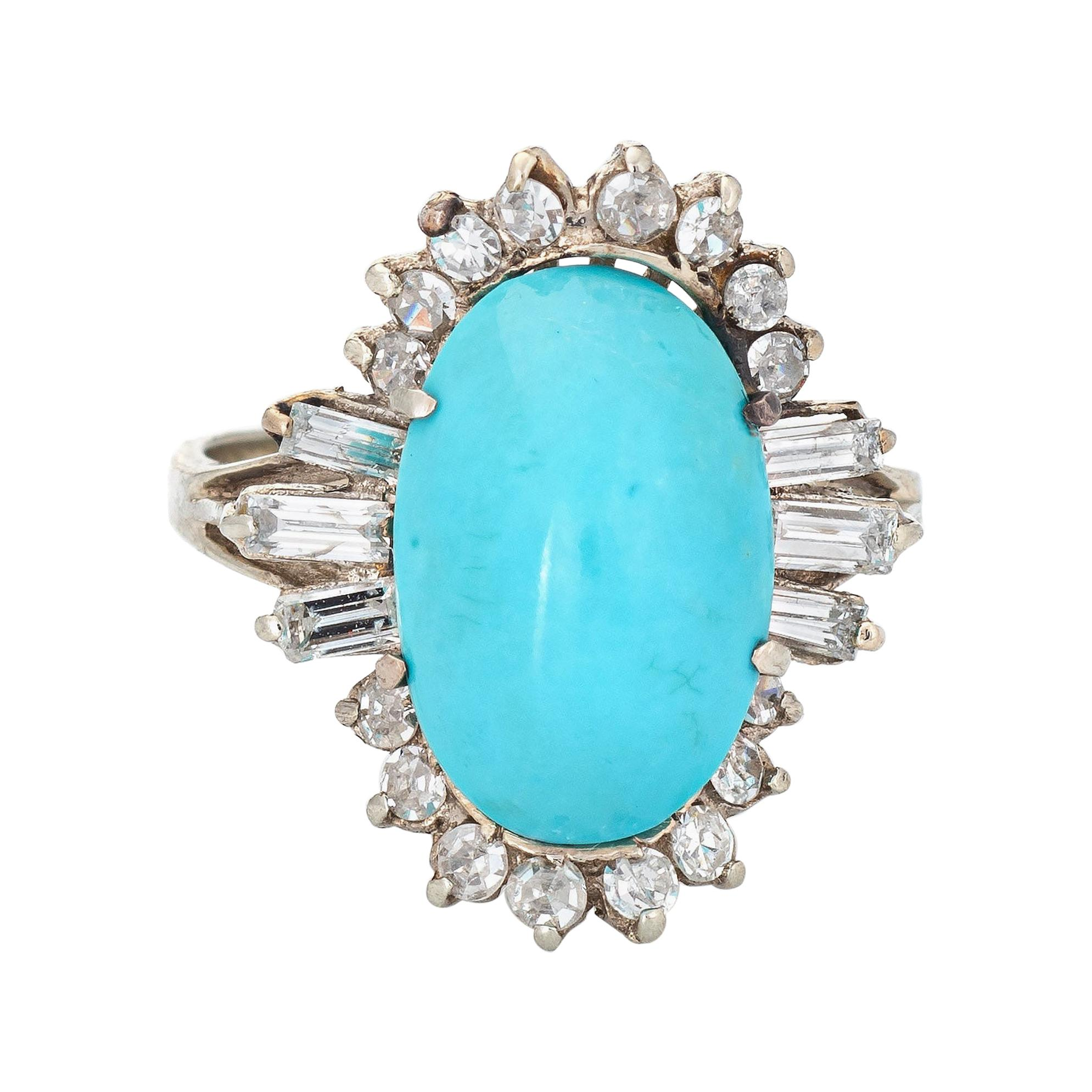 Turquoise Diamond Ring Vintage 14k White Gold Cocktail Jewelry Mid Century 5.75