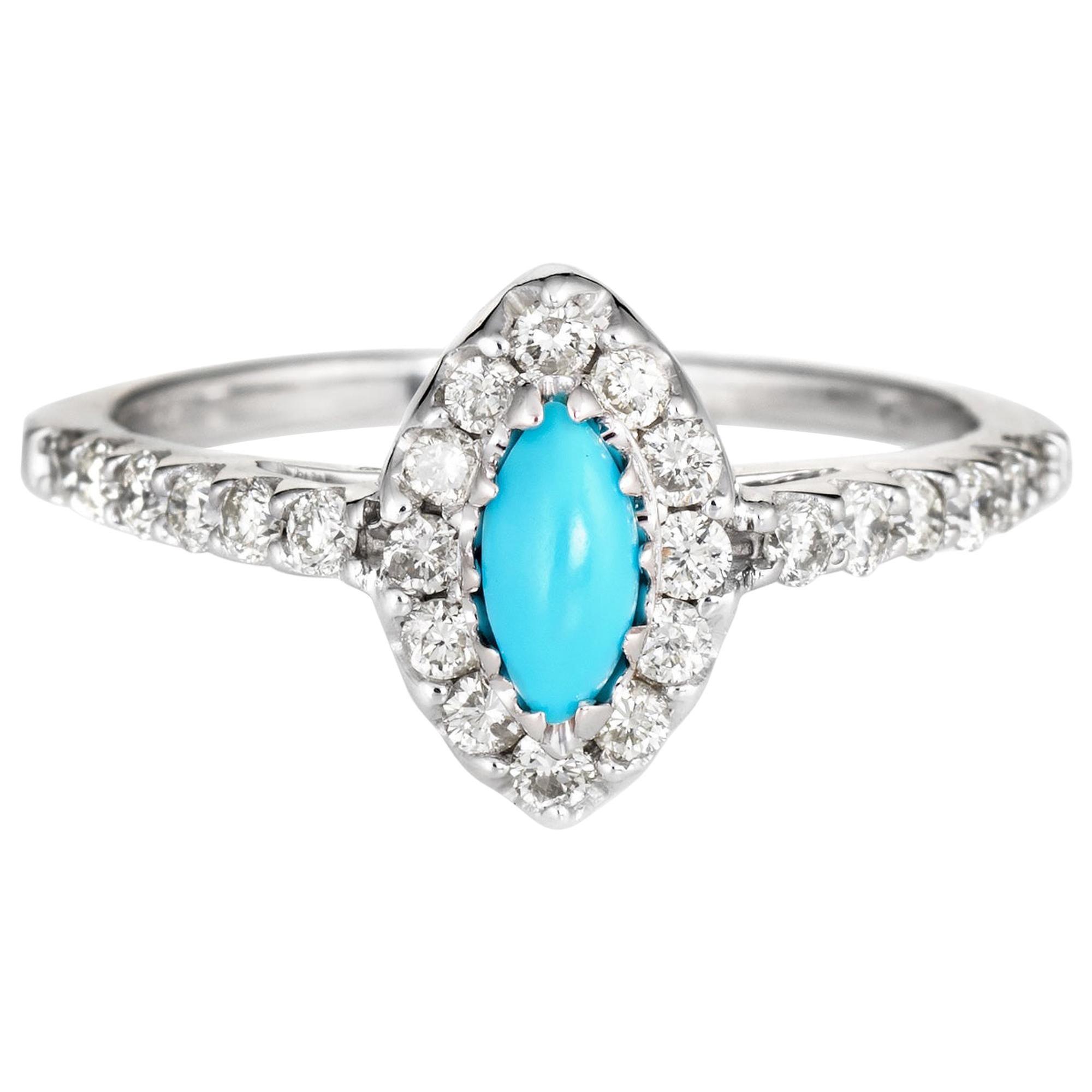 Turquoise Diamond Ring Vintage 14 Karat White Gold Marquise Cocktail Jewelry
