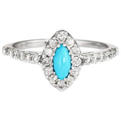 Turquoise Diamond Ring Vintage 14 Karat White Gold Marquise Cocktail Jewelry