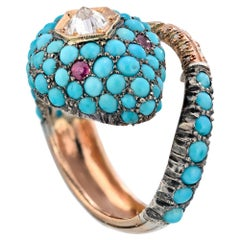 Turquoise Diamond Ruby Gold Silver Bypass Snake Ring Gold Silver