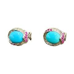Turquoise, Diamond & Ruby Stud Earring 14 Karat White Gold
