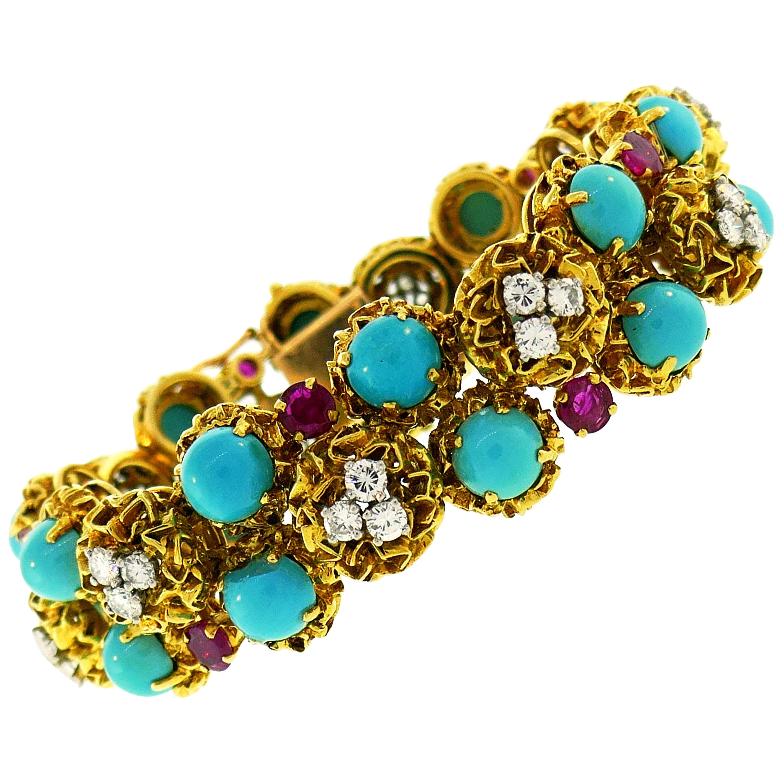 Turquoise Diamond Ruby Yellow Gold Bracelet French, 1950s