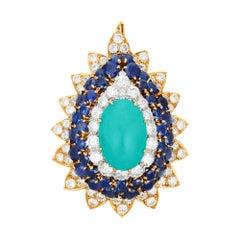 Turquoise Diamond Sapphire Brooch Pendant