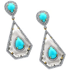 Turquoise Diamond Sleeping Beauty Earrings