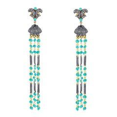 Turquoise Diamond Tassel Earrings