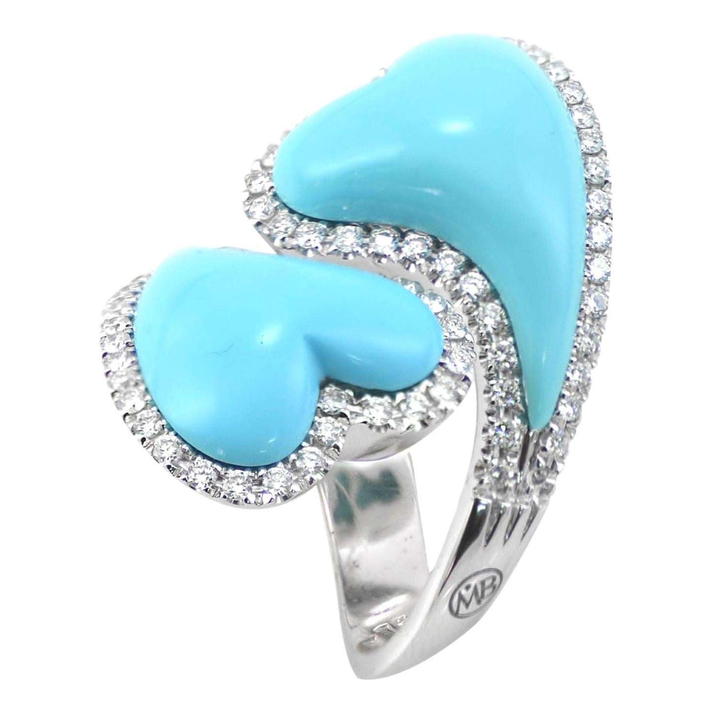 Turquoise Diamond 18KT White Gold Two Hearts Made in Italy Ring