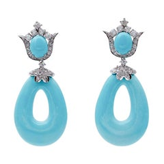 Turquoise, Diamonds, 14 Karat White Gold Dangle Earrings