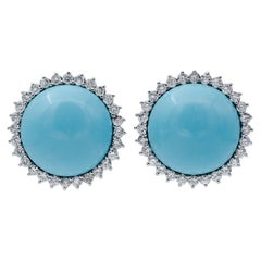 Turquoise, Diamonds, 14 Karat White Gold Stud Earrings