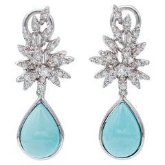 Turquoise, Diamonds, 18 Karat White Gold Dangle Earrings