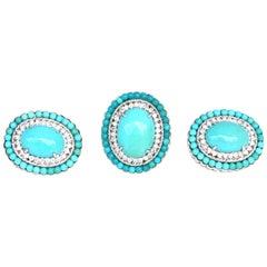 Turquoise Diamonds 18 Karat White Gold Ring Earrings European Set
