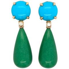 Turquoise Diamonds and Jade Chandelier Earrings