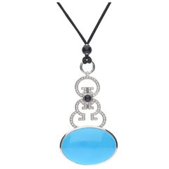 Turquoise Diamonds Sapphire Cabochon Pendent