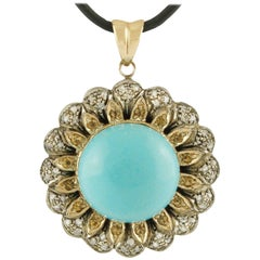 Turquoise Diamonds Topazes Rose Gold and Silver Pendant