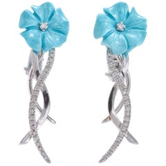 Turquoise Diamonds White Gold Earrings