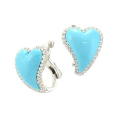 Turquoise Diamonds White Gold Two Hearts Made in Italy Earrings