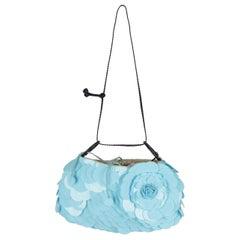 Turquoise disc Sequins Embellished Shoulder Bag