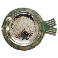 Turquoise Dish in Fish Form by Los Castillo