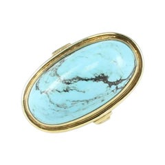 Turquoise Dome Ring Set in 10 Karat Yellow Gold
