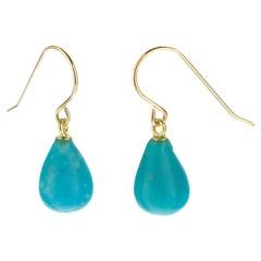 Turquoise Drop 18 Karat Gold Pear Tear Drop Modern Cocktail Earwire Earrings