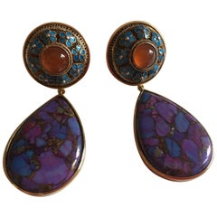 Turquoise Drops Antiques Chinese Button Carnelian 18 Karat Solid Gold