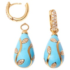 Turquoise Earrrings with 18 karat Yellow Gold Inlay Set with Diamonds