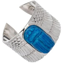 Turquoise Egyptian Scarab Faience Cuff in Sterling Silver Bracelet