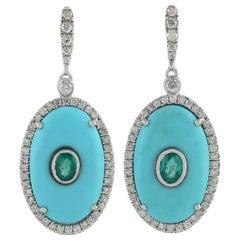 Turquoise Emerald Diamond 18 Karat Gold Earrings