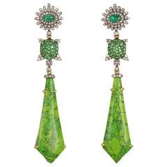 Turquoise Emerald Diamond Earrings