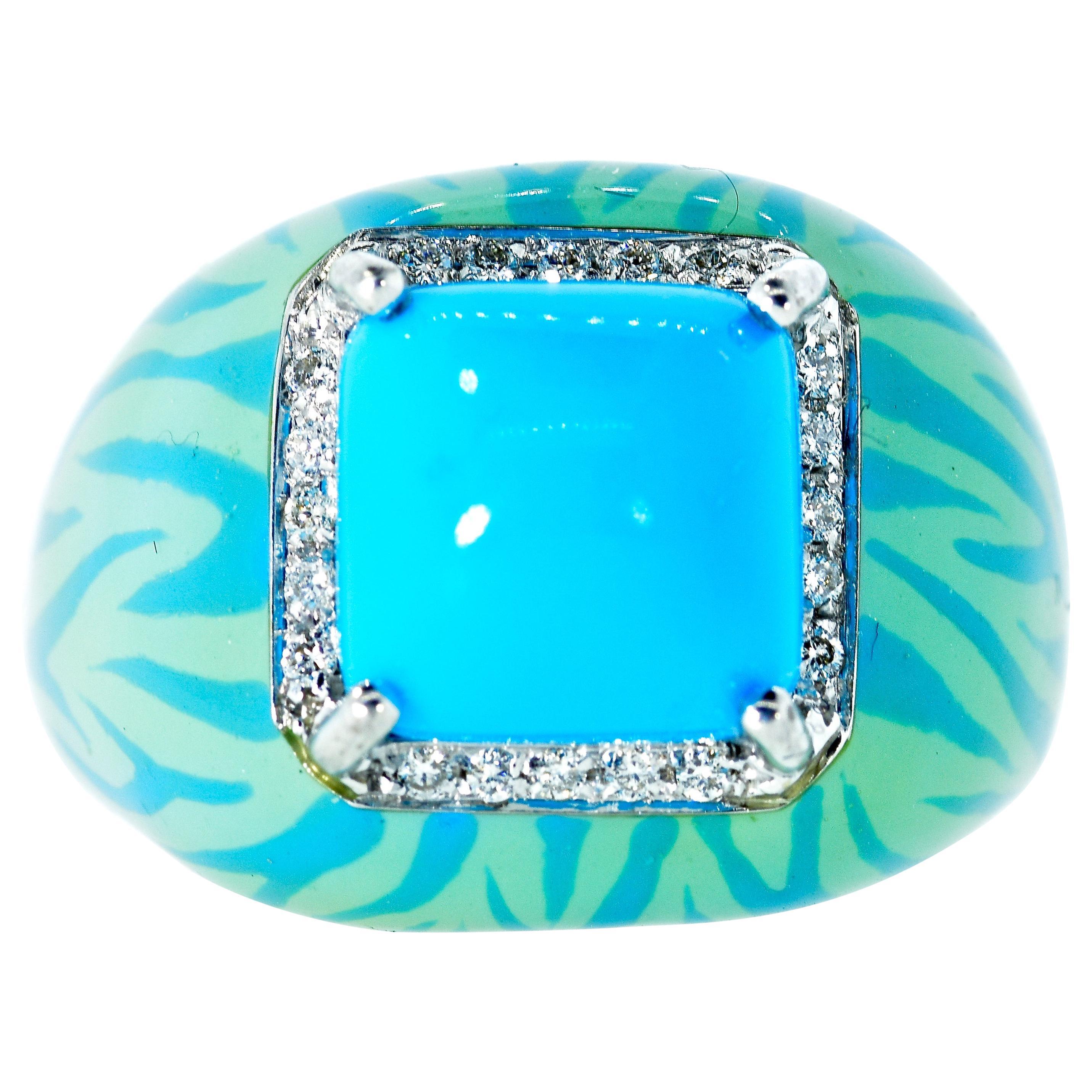 Turquoise, Enamel and Diamond 18 Karat Ring