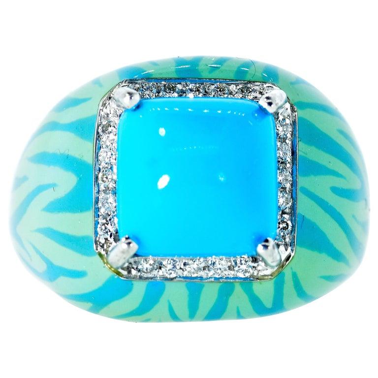 Turquoise, Enamel and Diamond 18 Karat Ring For Sale