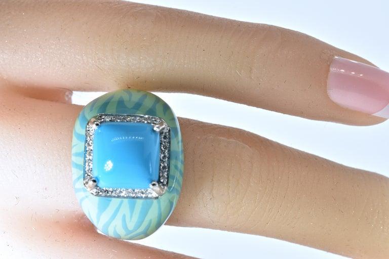 Women's or Men's Turquoise, Enamel and Diamond 18 Karat Ring For Sale