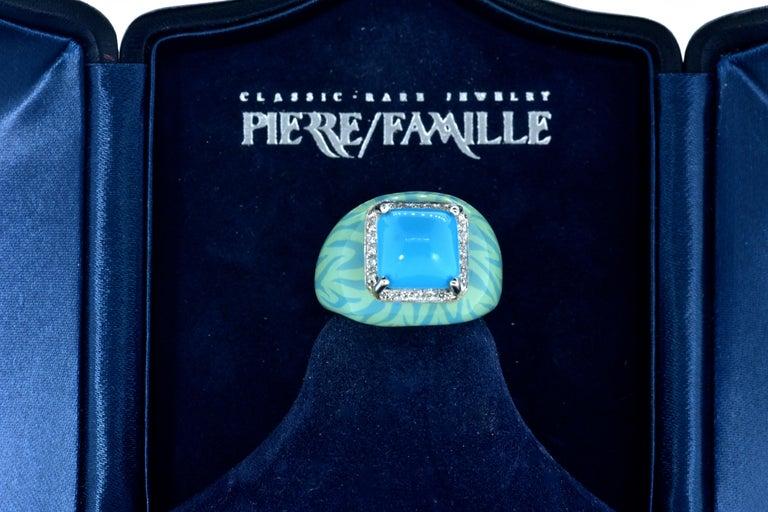 Turquoise, Enamel and Diamond 18 Karat Ring For Sale 2