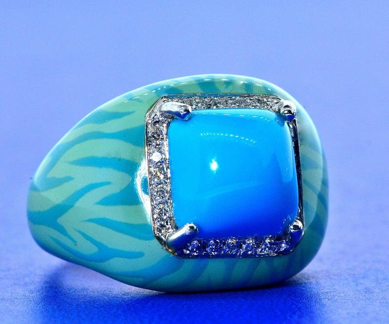 Turquoise, Enamel and Diamond 18 Karat Ring For Sale 3
