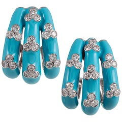 Turquoise Enamel and Diamond Earrings and Ring Suite