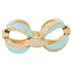 CINER Turquoise Enamel Art Deco Bracelet with Crystal Rhinestones