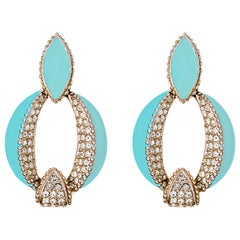 Turquoise Enamel Art Deco Door Knocker Earring with Crystal Rhinestones