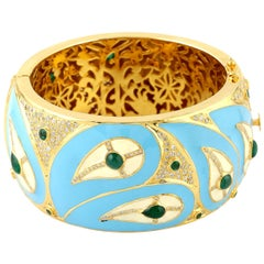 Turquoise Enamel Bangle with Diamonds and Emerald in 18 Karat Gold and Silver