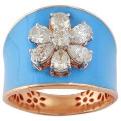 Turquoise Enamel Diamond 18 Karat Gold Flower Ring