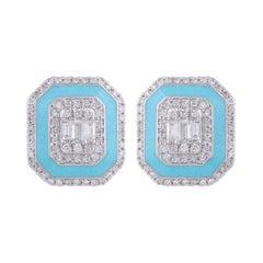 Turquoise Enamel Diamond 18 Karat Gold Stud Earrings
