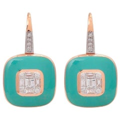 Turquoise Enamel Diamond 18 Karat Rose Gold Earrings