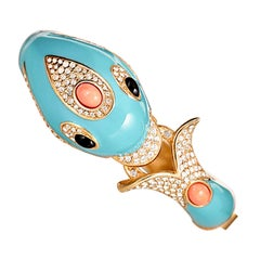 Turquoise Enamel Dolphin Bracelet with Crystal Rhinestones and Coral Cabochons