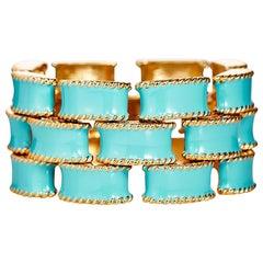 Turquoise Enamel Gold Brick Bracelet