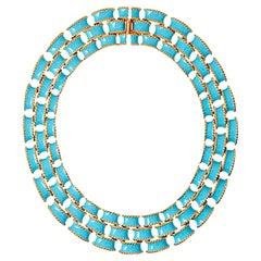 Turquoise Enamel Gold Brick Necklace