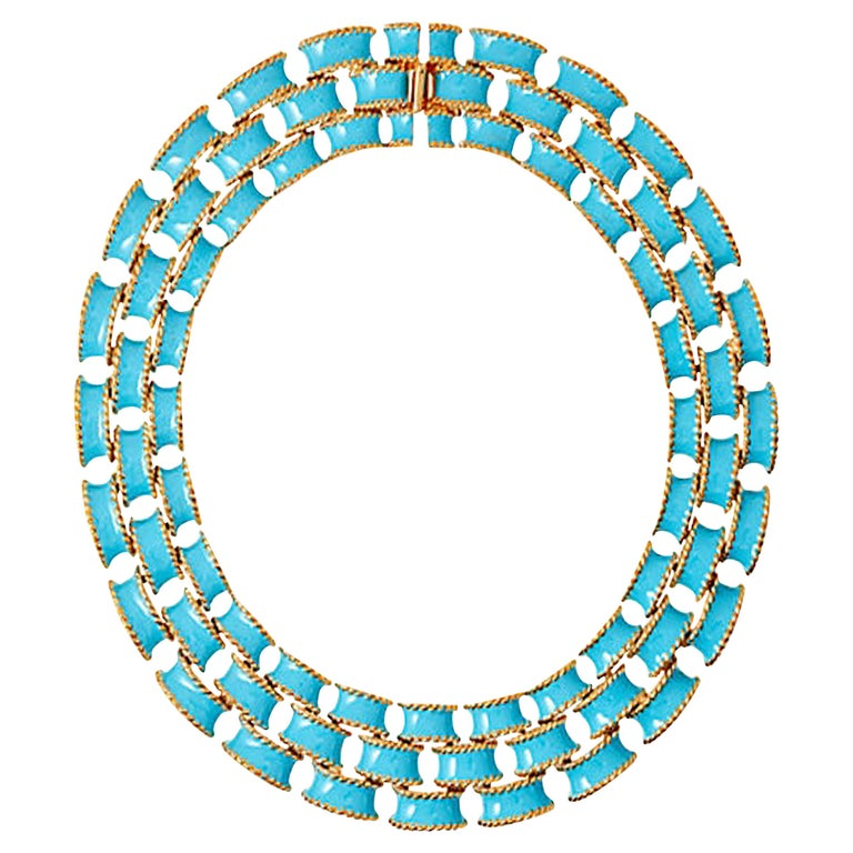 CINER Turquoise Enamel Gold Brick Necklace For Sale