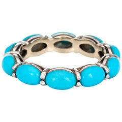 Turquoise Eternity Ring 14 Karat White Gold Estate Fine Jewelry Stacking Band