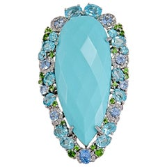 Turquoise Faceted Pear Shape Statement Cocktail Ring 14 Karat Gold with Stones