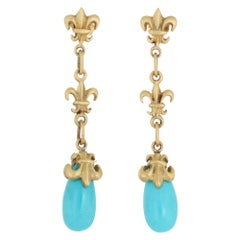 Turquoise Fleur de Lis Drop Earrings 18 K Gold Estate Fine Jewelry Long Dangle