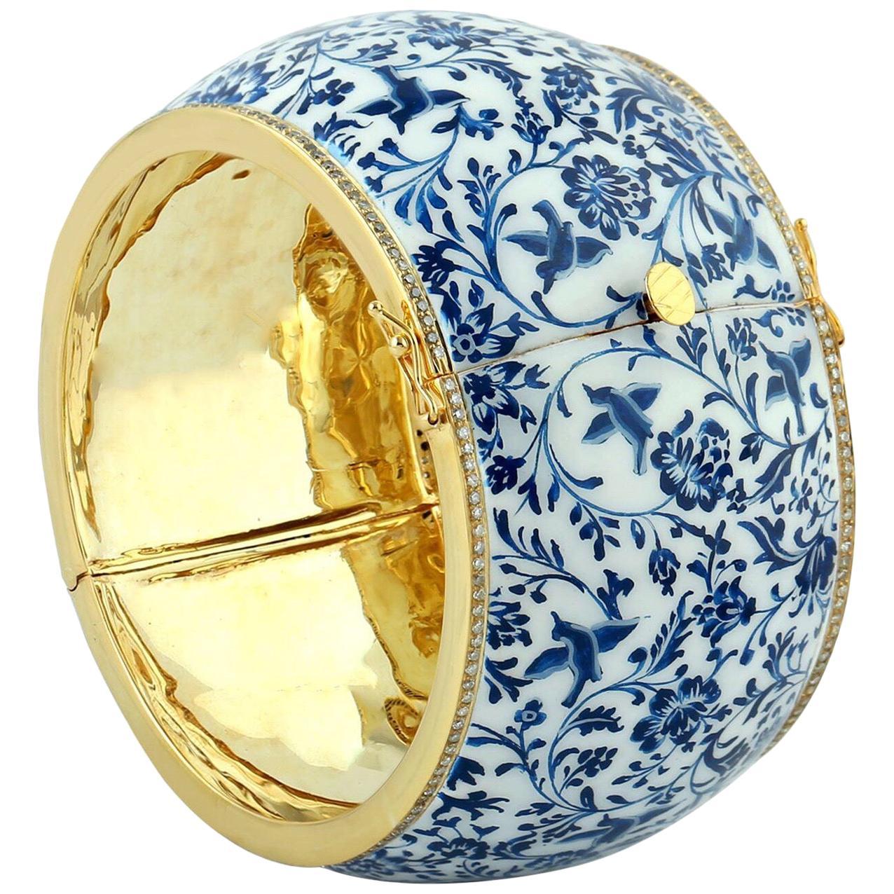 Enamel Turquoise Floral Diamond Bangle Bracelet