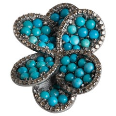 Turquoise Flower Cocktail Ring with Pave`-Set Diamonds
